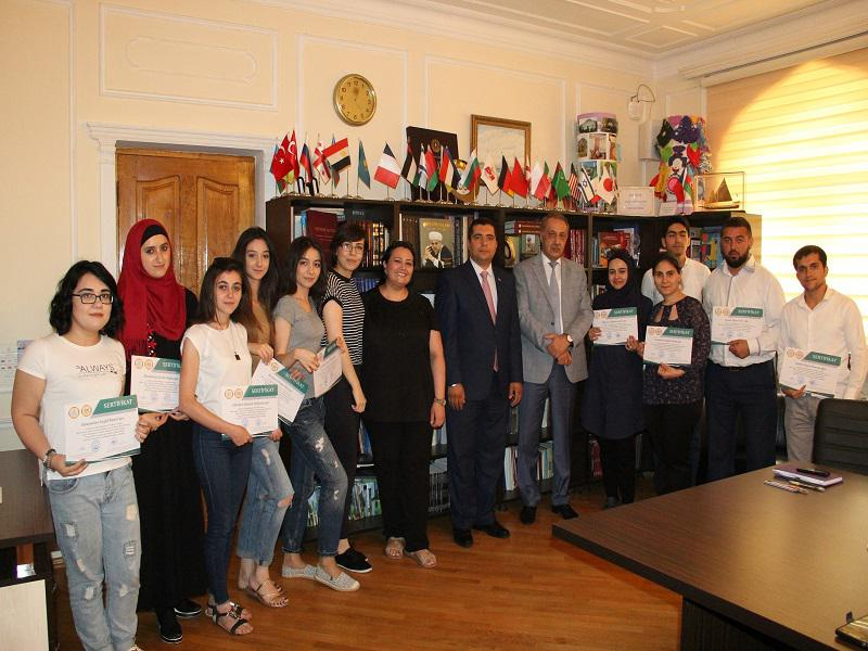The graduates of the Arabic language course were awarded certificates of the Knowledge Foundation