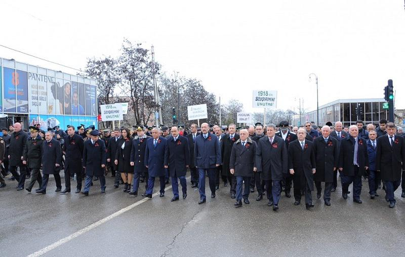 Thousands of Azerbaijanis march to Guba Genocide Memorial Complex